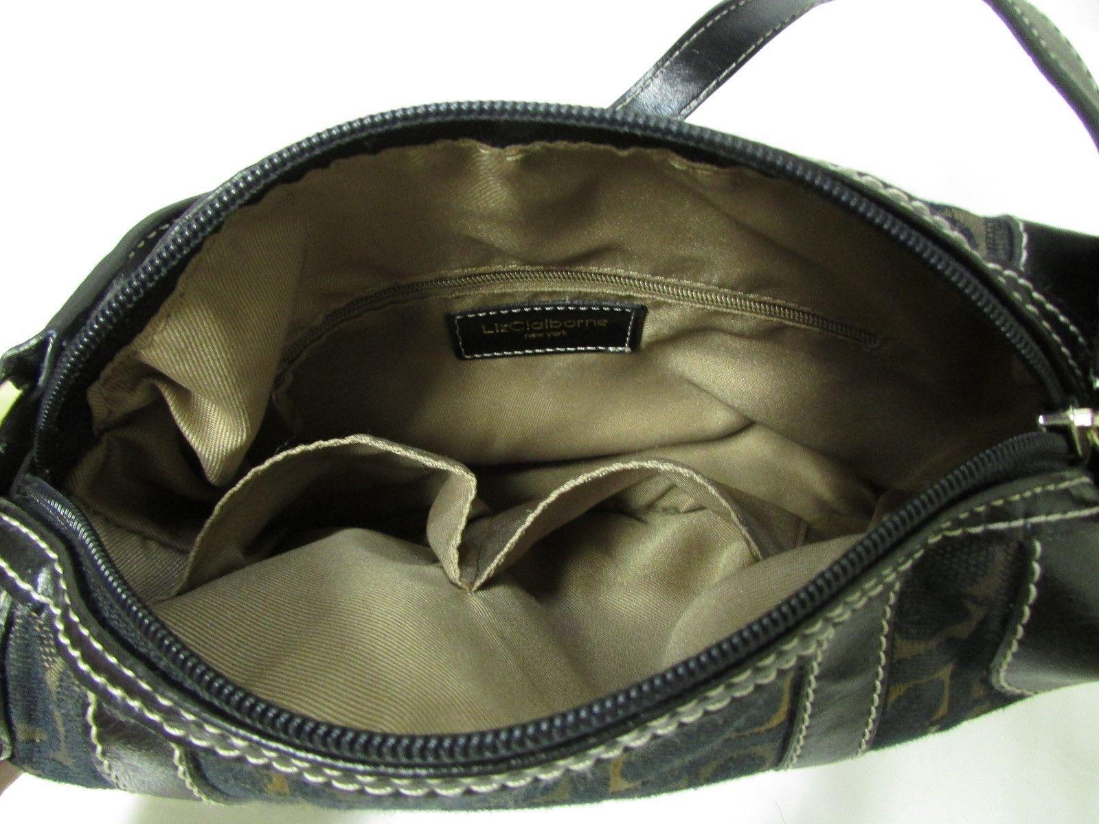 Vintage Liz Claiborne Black With Brown And Gold Fabric Shoulder Handbag Sz S image 5