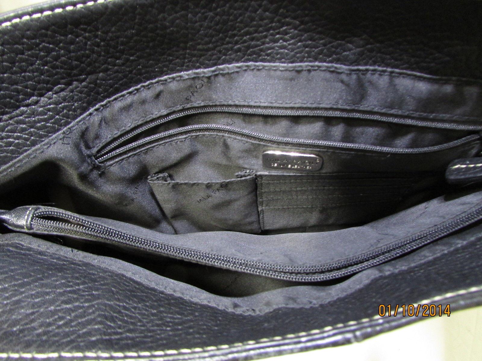 Exceptional Mila Paoli Genuine Black Pebble Leather Shoulder Bag image 7
