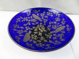 Vintage Blue Cobalt Silver Handpainted glass Pedestal Fruit Bowl Czechos... - $59.00