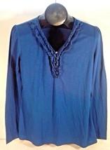 WOMEN'S FASHION BUG BLUE SHIRT WITH RUFFLES SIZE MEDIUM (E1) - $8.99