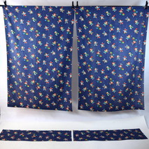 Vintage Lot of 4 Blue Hayppy Clown Cartoon Print Childrens Curtain Drape... - $28.70
