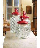 Circleware Red Pullet 3 PC Embossed Canister Set With Red Ceramic Lids ... - $79.70