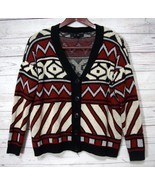 Forever 21 Cardigan Sweater Size S Small Tribal Print Red Black Boyfrien... - $15.16