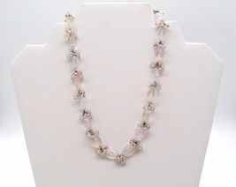 ANN TAYLOR Genuine Semi Precious Stone Pale Pink Beaded Cluster Necklace - $27.99