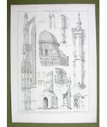 ARCHITECTURE PRINT : GOTHIC BUTTRESSES Duomo Florence Troyes Trento CIntra - $12.15