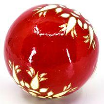 Asha Handicrafts Painted Papier-Mâché Red & Gold Snowflakes Christmas Ornament image 4