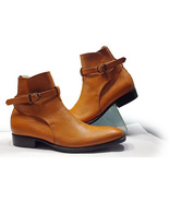 Handmade Men's New Tan Color Leather boot, Men's Jodhpurs Buckle Ankle H... - $169.97+