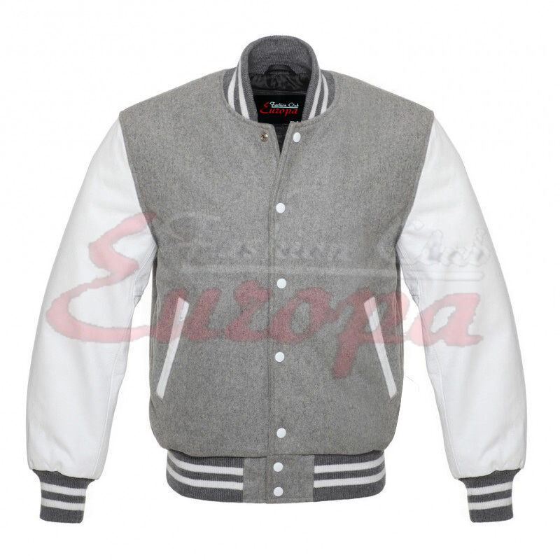 Primary image for  Grey Varsity Letterman Wool Jacket with white Leather Sleeves