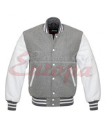 Grey Varsity Letterman Wool Jacket with white Leather Sleeves - $67.86
