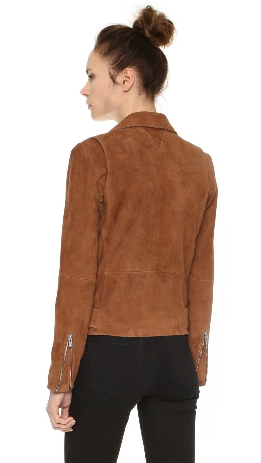 Handmade Women Brown Suede Leather Jacket,Women Slim Fit Biker Motorcycle Jacket