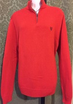 Chaps Unisex Size M Cable Knit Orange Cotton Long sleeved Zip Sweater New WOT - $16.82