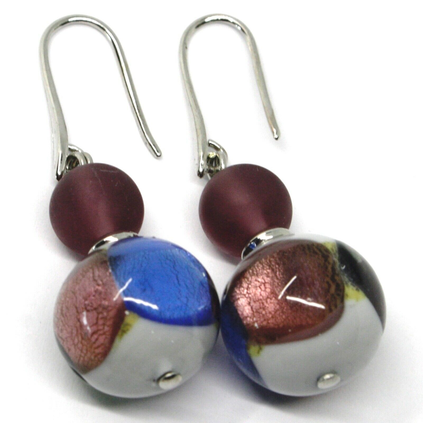 PENDANT EARRINGS GRAY PURPLE MURANO GLASS SPHERE & SILVER LEAF, MADE IN ITALY