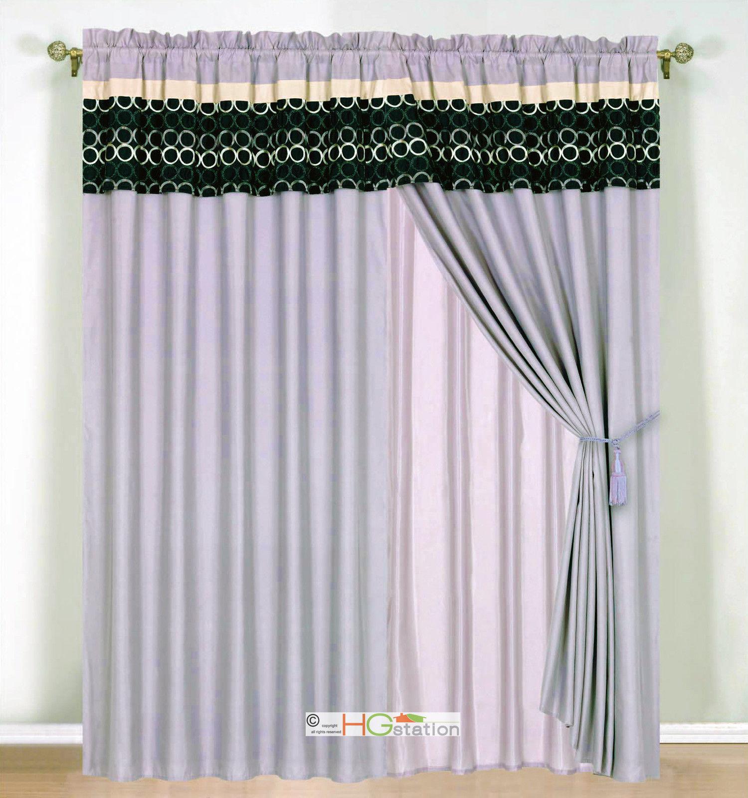4-Pc Circle Embroidery Striped Curtain Set Lavender Black Beige Valance Drape - $40.89