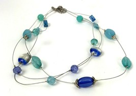 Illusion Necklace Victor Jansen VJ glass and Plastic Bead Blue Silver tone  - $16.82