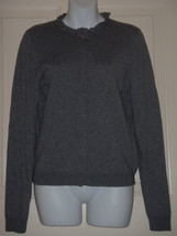 J Crew Factory Gray Cashmere Blend Ruffle Jewel Cardigan MEDIUM M Sweater - $37.11