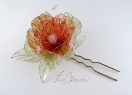 Big Sunrise Flower Handmade Hair Pin Clip Pink ... - $228.00