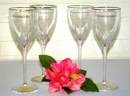 4 NEW  LENOX CUT CRYSTAL FIRELIGHT PLATINUM SILVER WINE OR WATER GOBLETS... - $60.43