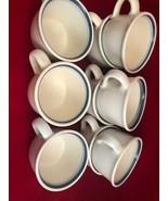"Pfaltzgraff SKY  001 Coffee Cups (9) 2-tone Blue Trim 2-3/4"" - $36.63"