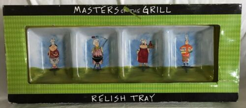 Primary image for MASTERS OF THE GRILL! Relish Tray Dish Certified International Tracy Flickinger