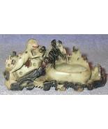 Vintage Soapstone Carving, Monkey, Crow, Black Cat, Natural Color - $125.00