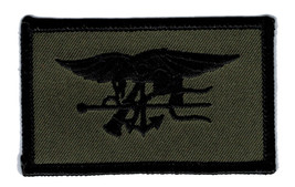 NAVY SEALS OD GREEN TRIDENT EMBROIDERED MILITARY PATCH - $15.33