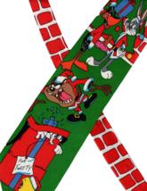 Looney Tunes Christmas tree Necktie vintage 1990s Bugs Bunny Santa tweet... - $19.59