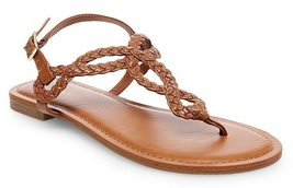 New Women's Merona Jana Quarter Strap Flat Strappy Sandals in Cognac NWT