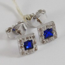 18K WHITE GOLD 6 MM SQUARE EARRINGS WITH ZIRCONIA PRINCESS BLUE image 2