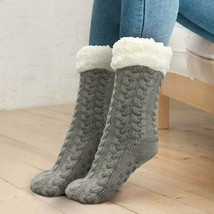 Women's Grey Thermal Sherpa Socks Thick Cozy Fuzzy Fleece-lined Bed Slippers image 2