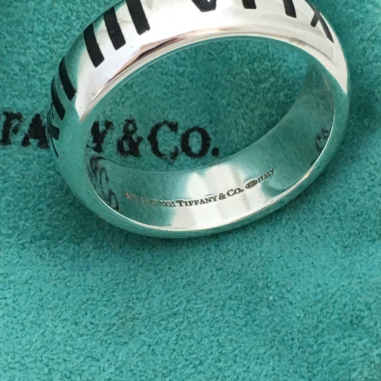 965add21f Tiffany & Co Men's Sterling Silver Atlas Black Enamel Ring Size 11.5
