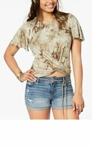American Rag Juniors' Printed Crisscross Dsty Olive Combo Top - $6.16