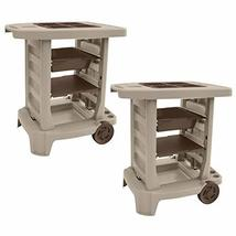 MRT SUPPLY Portable Outdoor Garden Center Station Tool Cart, Light Taupe... - $377.28