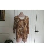 Susan Graver top Liquid Knit Medium brown animal scoop neck lace 3/4 sle... - $15.63