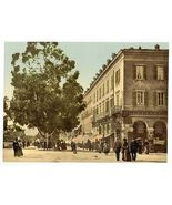 1890s photo Street scene with people, tree, commercial buildings, possibly in c8 - $12.19
