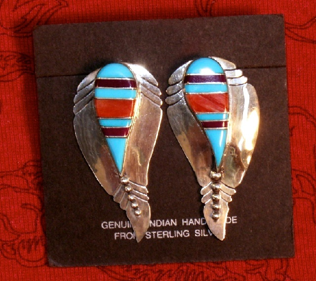 Sterling Silver & Turquoise Earrings, Southwestern