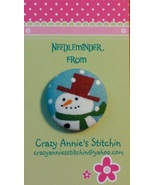 Red Top Hat Snowman Needleminder fabric cross stitch needle accessory - $7.00