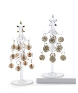 """Glass Mini Glass Tree With Gold & Silver Ornaments 7.87""""Tall - $24.99"""