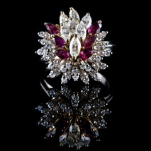 Vintage 1960's 18k Yellow & White Gold Ruby and Diamond Cocktail Ring 3.... - $3,250.00