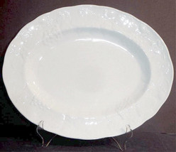 "Wedgwood Strawberry and Vine Oval Serving Platter 14"" White Sculpted New - $116.90"