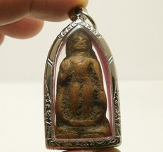 THAI BUDDHA BLESSING AMULET LUCKY PENDANT MIRACLE WEALTH HAPPY RICH RARE ANTIQUE image 1