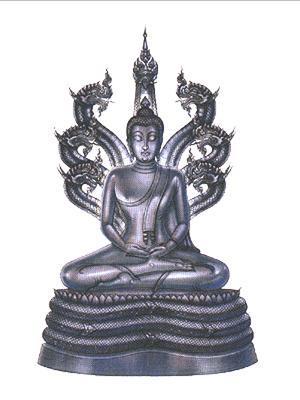NAGA SNAKE PROTECTION NAKPROK TAMARIND LEAF BUDDHA THAI ANTIQUE AMULET PENDANT