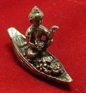 THAI MINI AMULET KUMAN TONG GUMAN THONG MAGIC SPIRIT RIDE BOAT CALL MONEY WEALTH image 4