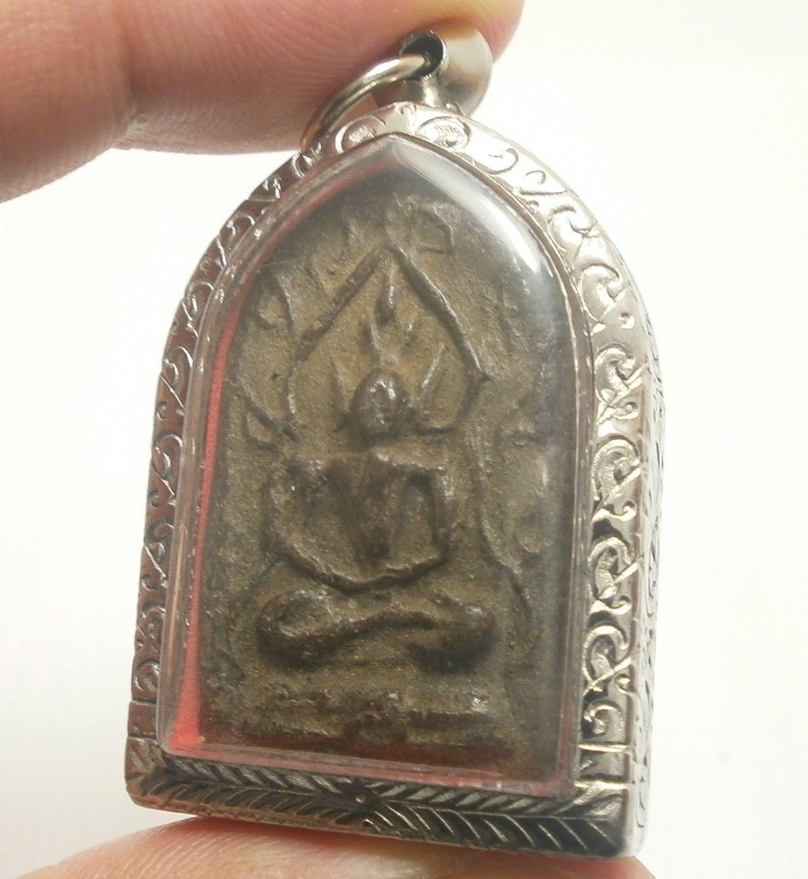 LP BOON BUDDHA IN NIRVANA ENLIGHTEN SHIELD THAI POWERFUL ANTIQUE AMULET PENDANT image 2