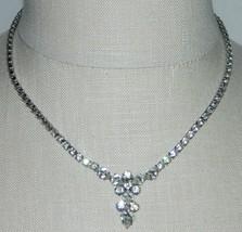 VTG B. DAVID Signed Clear Rhinestone Necklace Unique Clasp Art Deco Style - $79.20