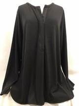 Lauren Ralph Lauren Black Knit Long Sleeve Shirt, Women's Size XL - $23.74