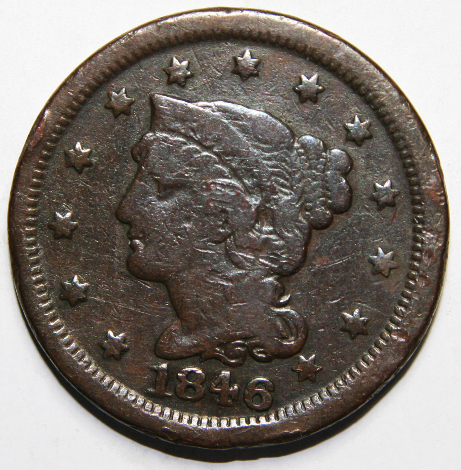 1846 Large Cent Liberty Braided Hair Head Coin Lot # A 1596