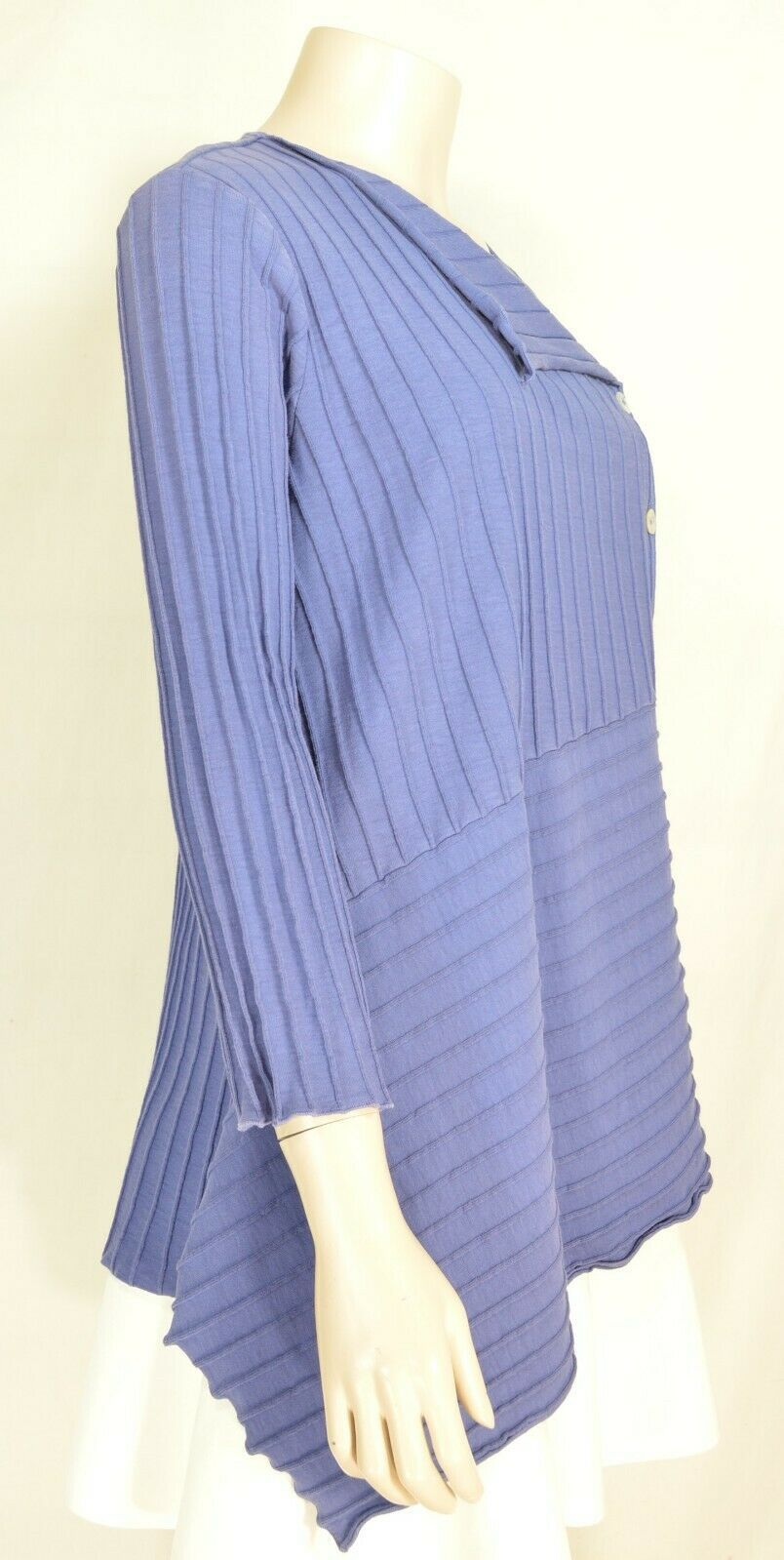 Fenini top jacket SZ S blue asymmetrical ribbed 100% cotton USA