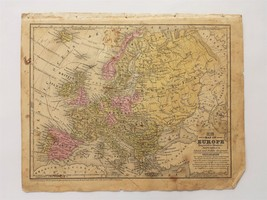 1839 antique MAP of EUROPE mitchell's atlas SCHOOL FAMILY GEOGRAPHY conn... - $28.95