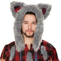 Furry Wolf Hood Plaid Ears Costume Hat Fuzzy Fluffy Plush Men's Women's ... - $37.61