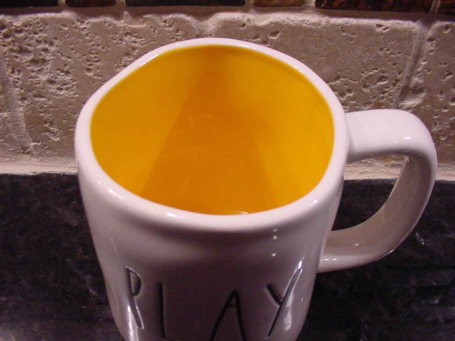 Rae Dunn PLAY Rustic Mug, Yellow Inside